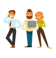 Business people group of three isolated on white vector