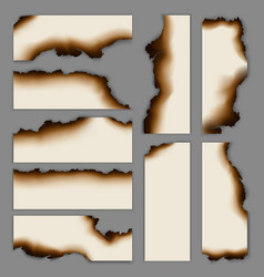 realistic burnt scorched paper banners collection vector image