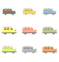 Stylish icon in flat style retro car collection vector