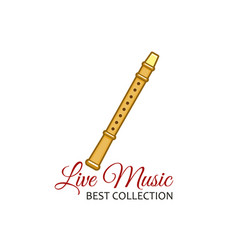 Reed pipe or clarinet flute live music icon vector