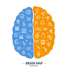 Human brain map concept left and right hemisphere vector