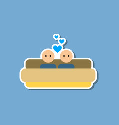 Paper sticker on stylish background of gays in bed vector