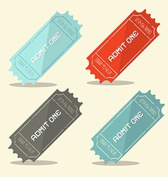 Admit one retro ticket set vector