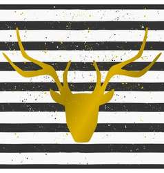 Gold deer head on a striped pattern background vector
