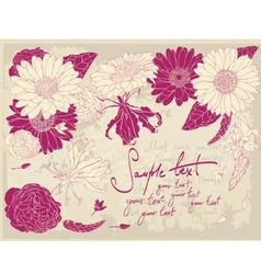 vintage flower postcard vector image