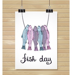 Fish design background fish poster menu card vector