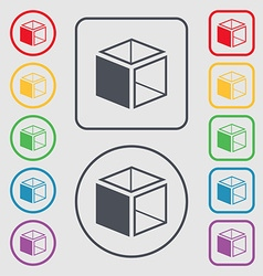 3d cube icon sign symbols on the round and square vector