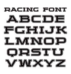 Serif font with contour vector image