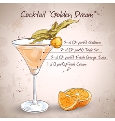 Alcoholic cocktail golden dream vector