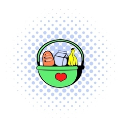 Basket with food icon comics style vector