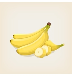 Bananas bunches of fresh banana and sliced vector