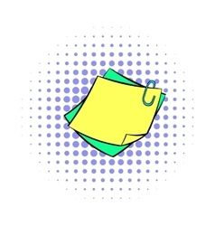 Memo notes with paper clip icon comics style vector