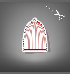 Bird cage sign red icon with for applique vector