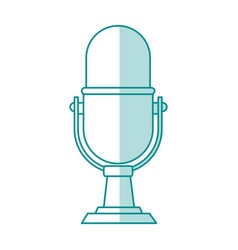 Blue shading silhouette of desk microphone of vector