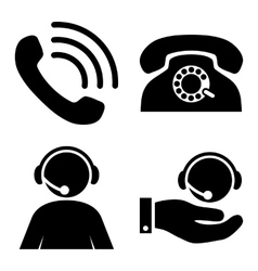 Call Center Flat Icons vector image
