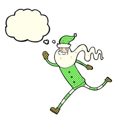 cartoon running santa with thought bubble vector image