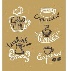 Coffee hand drawn Labels Logo template collection vector image vector image