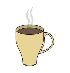 Color image cartoon crockery modern cup of coffee vector