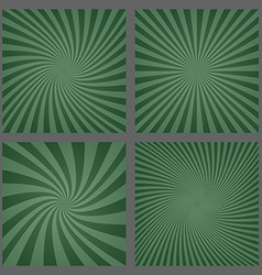 Dark green spiral and ray burst background set vector