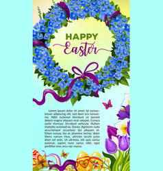 Easter egg and flower wreath cartoon poster vector