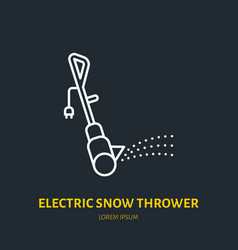 Electric snow thrower flat line icon sign vector