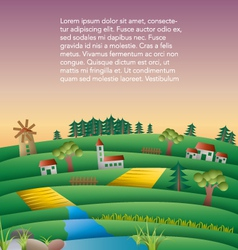 fields and hills landscape with mill vector image vector image