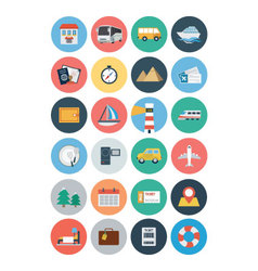 Flat travel and tourism icons 1 vector