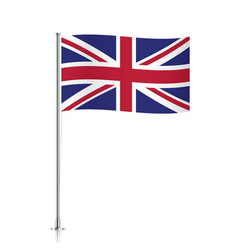 Great britain flag waving on a metallic pole vector