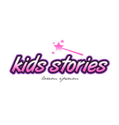 Kids stories word text logo icon design concept vector