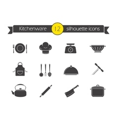 Kitchen tools silhouette icons set vector