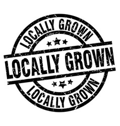 Locally grown round grunge black stamp vector