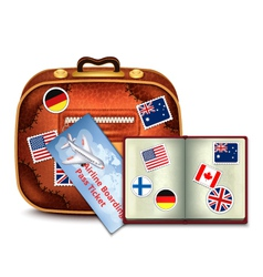 Passport and airline ticket and luggage vector