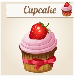 Pink cupcake detailed icon vector