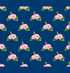 Pink hollyhock on indigo blue background vector