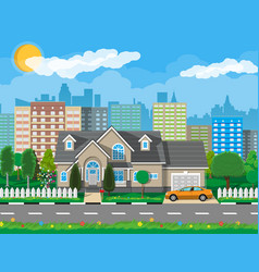 private suburban house with car vector image