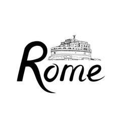 rome city background landmark lettering travel vector image vector image