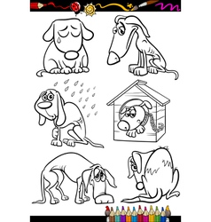 Sad dogs group cartoon coloring book vector