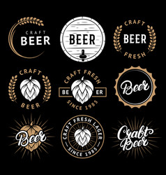 set of beer labels in retro style vintage vector image vector image