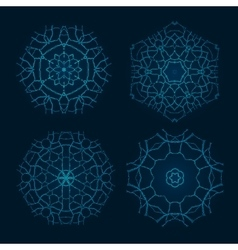 Set of Ethnic Fractal Mandala Meditation vector image