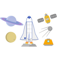 space rockets satellites and planets vector image vector image