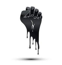 Symbol of clenched fist held in protest paint vector