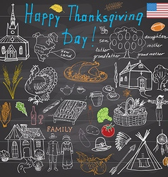Thanksgiving doodles set traditional symbols vector