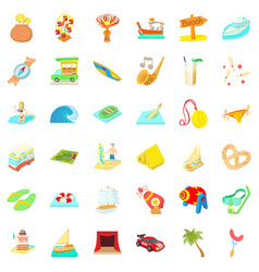 Time for travel icons set cartoon style vector