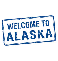 Welcome to alaska blue grunge square stamp vector