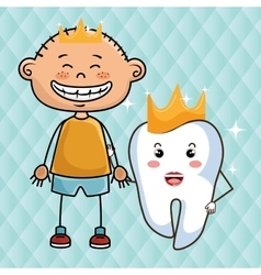 Cartoon boy and tooth with crowns over a blue vector