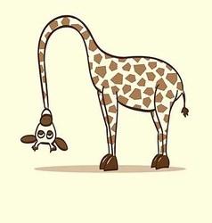 Giraffe neck bent to the ground vector