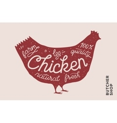 Trendy poster with red chicken silhouette vector