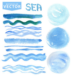 Watercolor stainsbrusheswavesblue seaocean vector