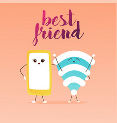 Best friends cute cartoon phone and wifi vector