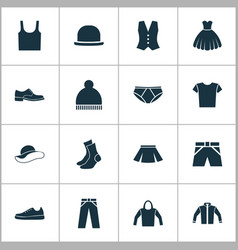Garment icons set collection of cardigan half vector